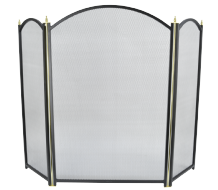 Dynasty PLUS 3 Fold Fireguard - Black & Brass